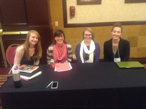 Students presenting at the Midwest Writing Center Association Conference. From left to right Alicia Beeson, Dory Cochran, Kelsey Hixson-Bowles, and Kate Nygren.