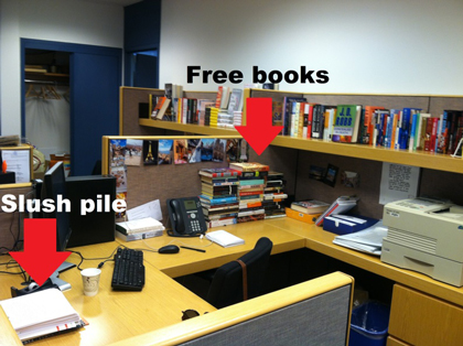 My cubicle with an ever-growing mountain of books I've received for free.