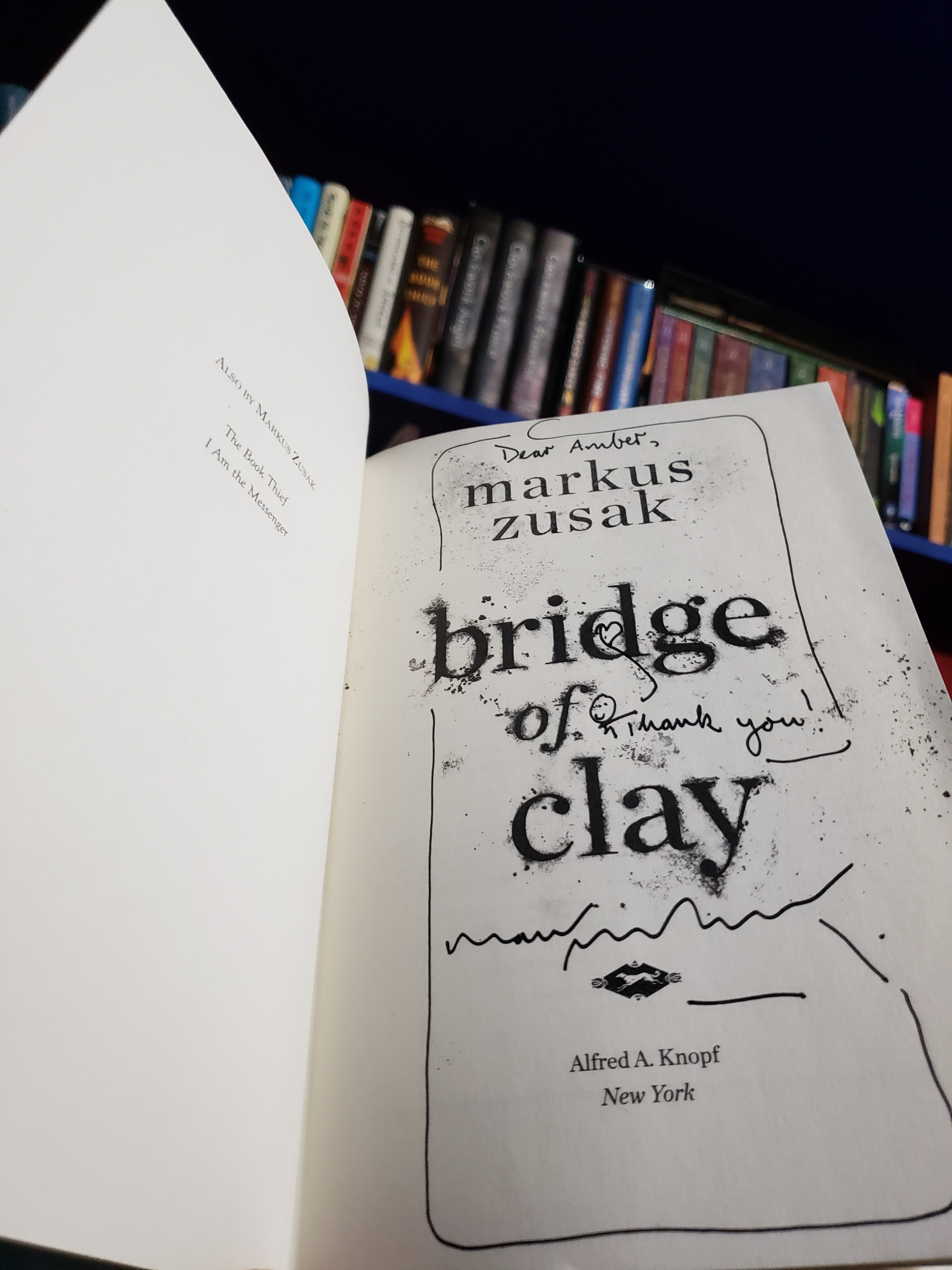 Signed copy of Bridge of Clay1